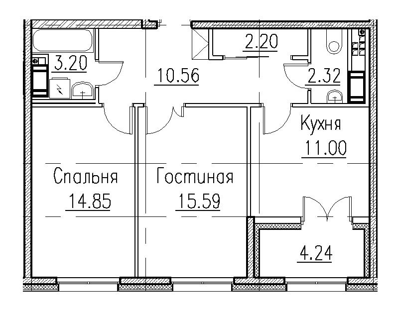 3-комнатная 120 м<sup>2</sup> на 2 этаже