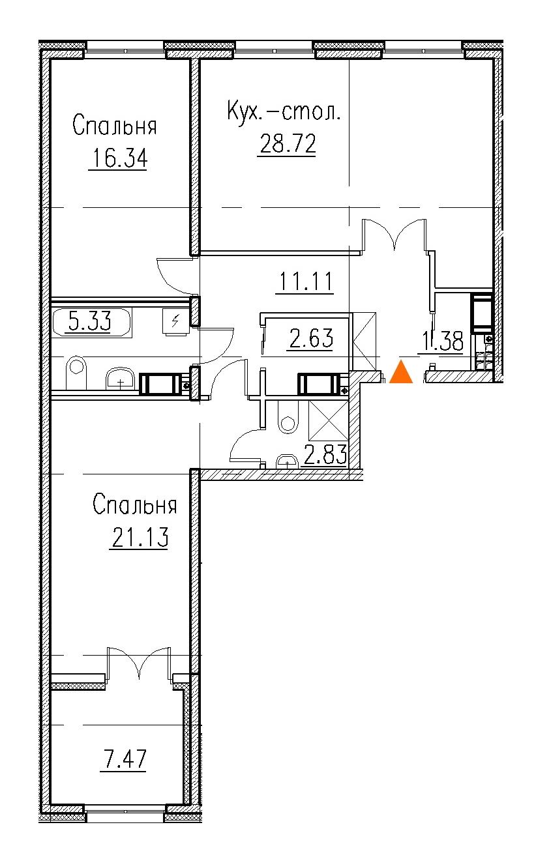 2-комнатная 94 м<sup>2</sup> на 6 этаже
