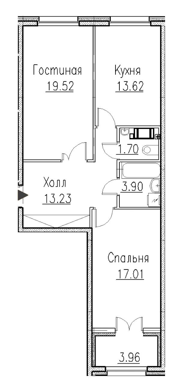 2-комнатная 120 м<sup>2</sup> на 1 этаже