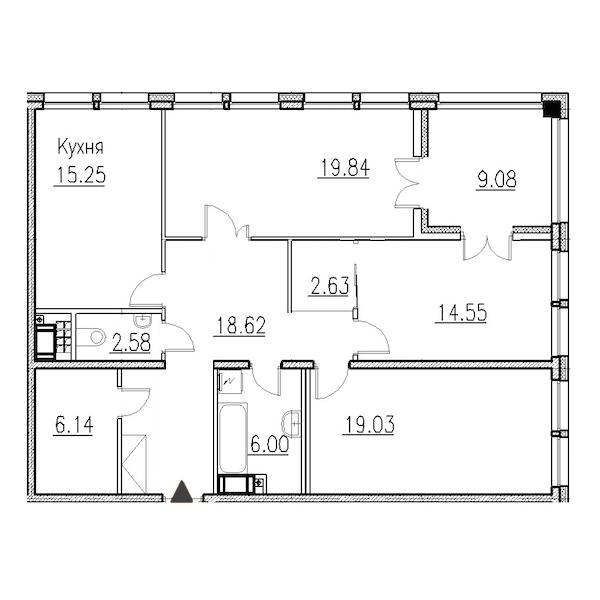 3-комнатная 106 м<sup>2</sup> на 8 этаже