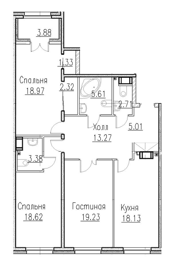 3-комнатная 105 м<sup>2</sup> на 1 этаже