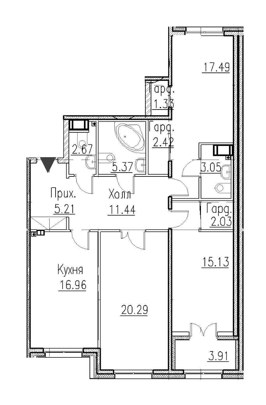 3-комнатная 104 м<sup>2</sup> на 1 этаже