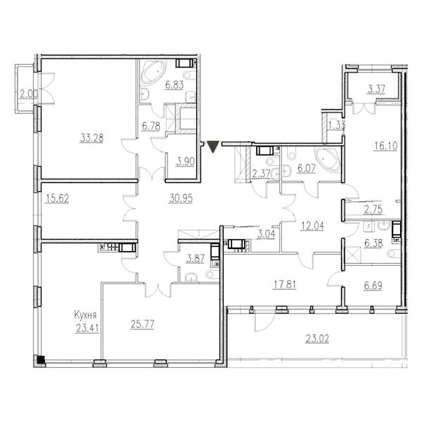 5-комнатная 228 м<sup>2</sup> на 7 этаже