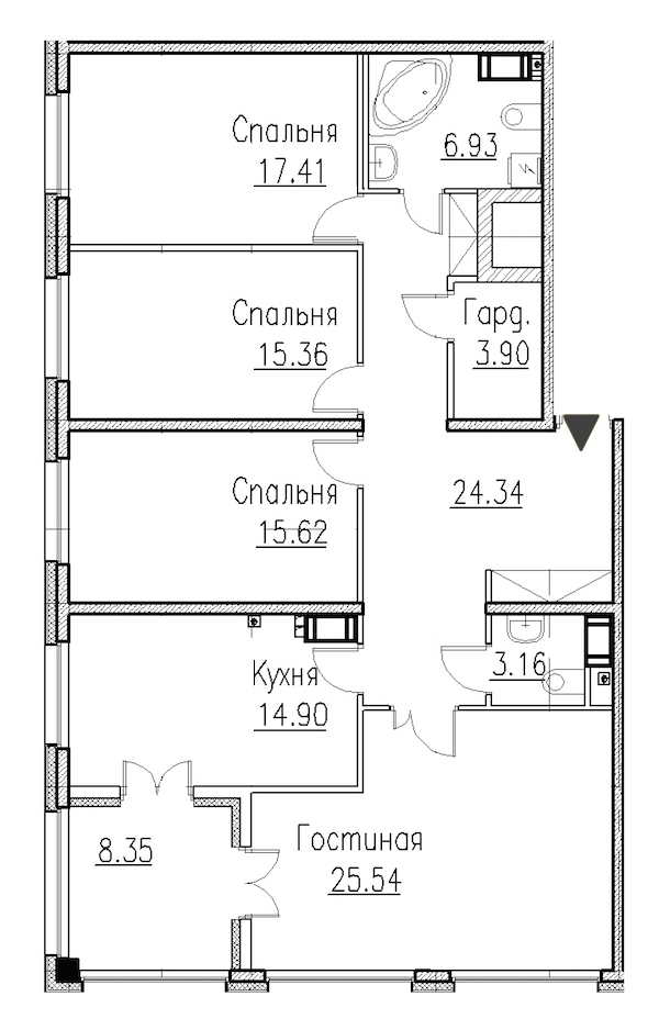 4-комнатная 127 м<sup>2</sup> на 2 этаже