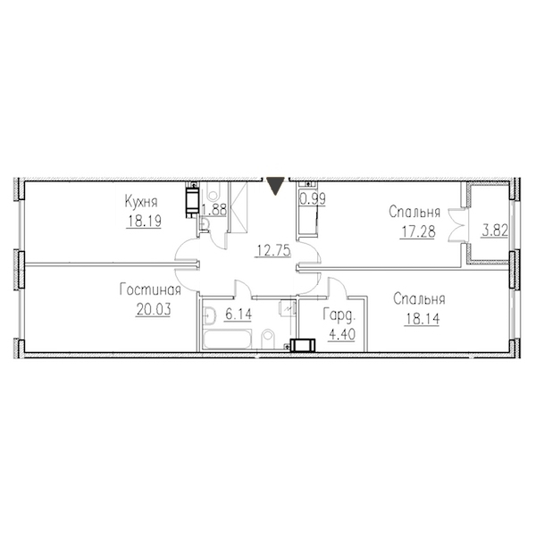 3-комнатная 100 м<sup>2</sup> на 2 этаже