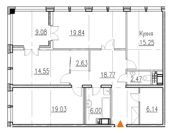 3-комнатная 107 м<sup>2</sup> на 8 этаже