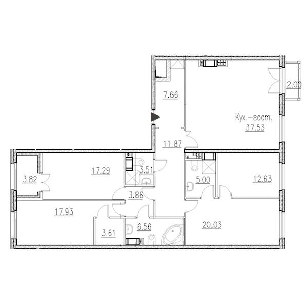 4-комнатная 147 м<sup>2</sup> на 8 этаже