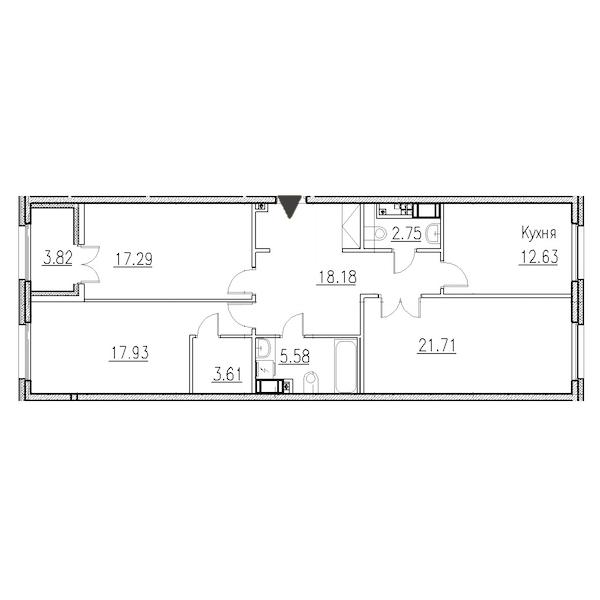 3-комнатная 98 м<sup>2</sup> на 5 этаже