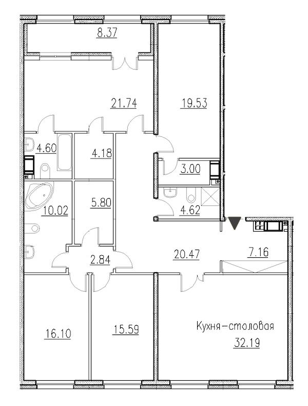 4-комнатная 168 м<sup>2</sup> на 3 этаже