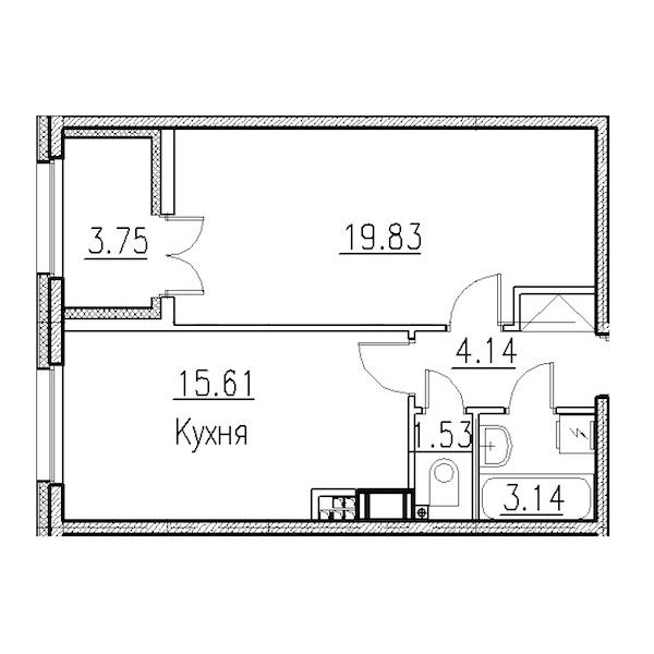 1-комнатная 45 м<sup>2</sup> на 4 этаже