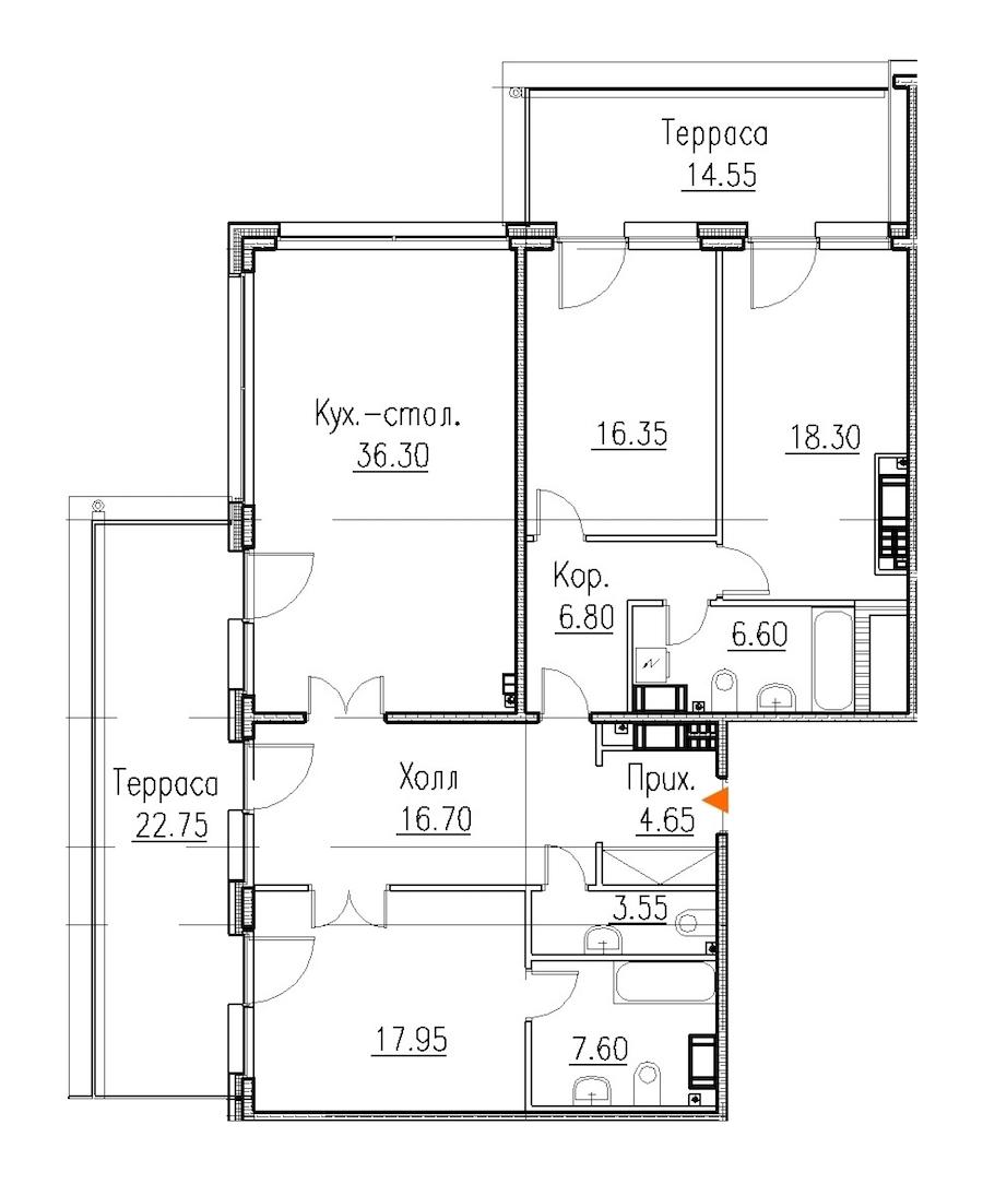 3-комнатная 134 м<sup>2</sup> на 8 этаже