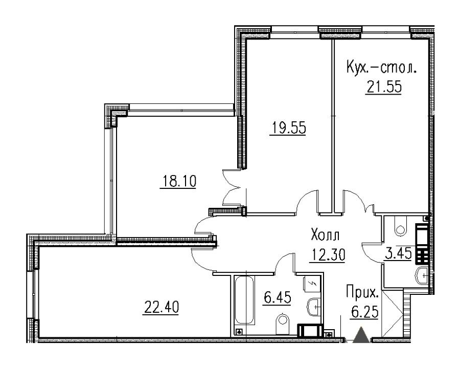 2-комнатная 91 м<sup>2</sup> на 7 этаже