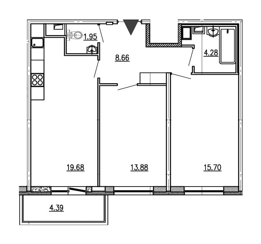 2-комнатная 64 м<sup>2</sup> на 1 этаже