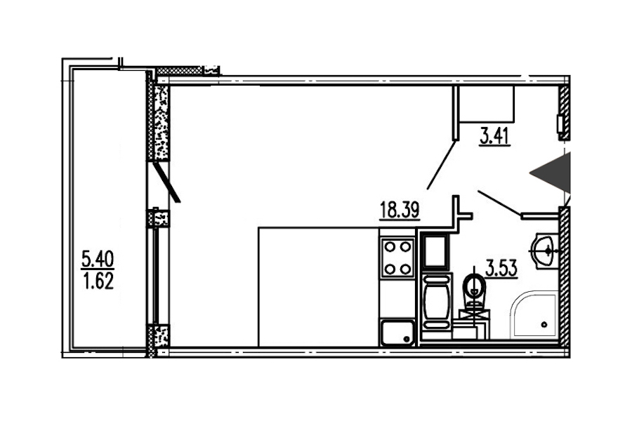 Студия 25 м<sup>2</sup> на 12 этаже