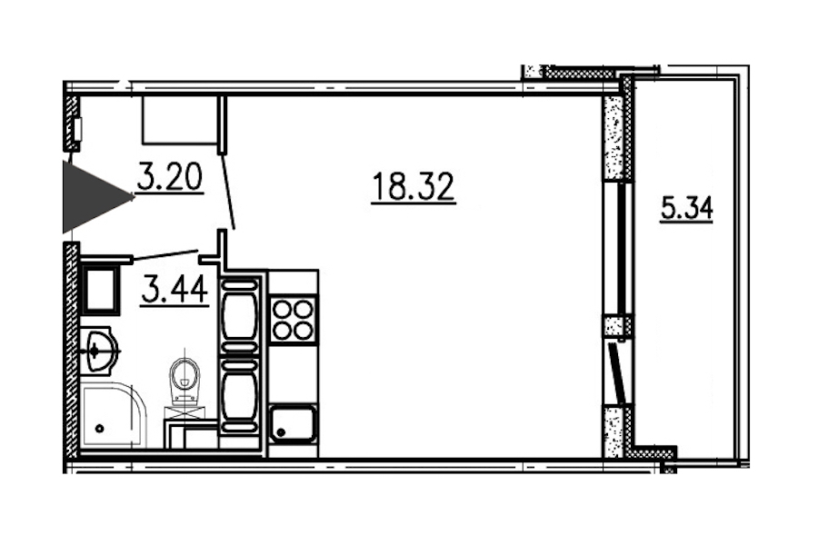 Студия 24 м<sup>2</sup> на 20 этаже