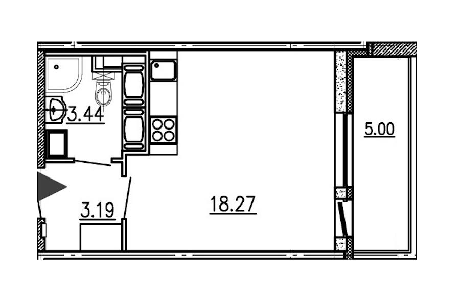 Студия 24 м<sup>2</sup> на 24 этаже