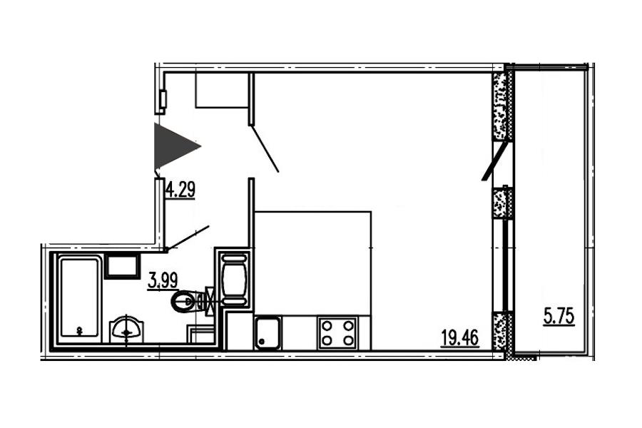 Студия 27 м<sup>2</sup> на 14 этаже