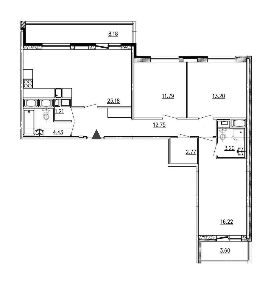 3-комнатная 88 м<sup>2</sup> на 16 этаже