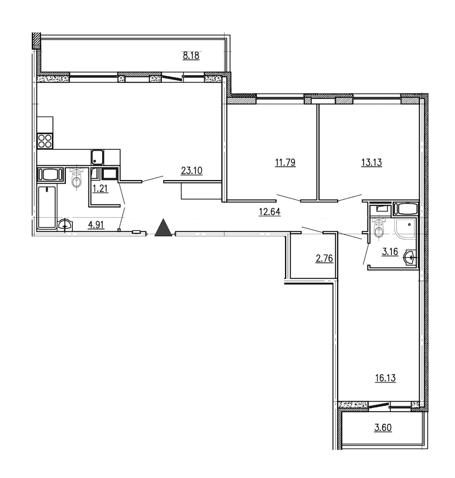 3-комнатная 88 м<sup>2</sup> на 8 этаже