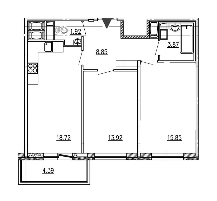 2-комнатная 63 м<sup>2</sup> на 16 этаже