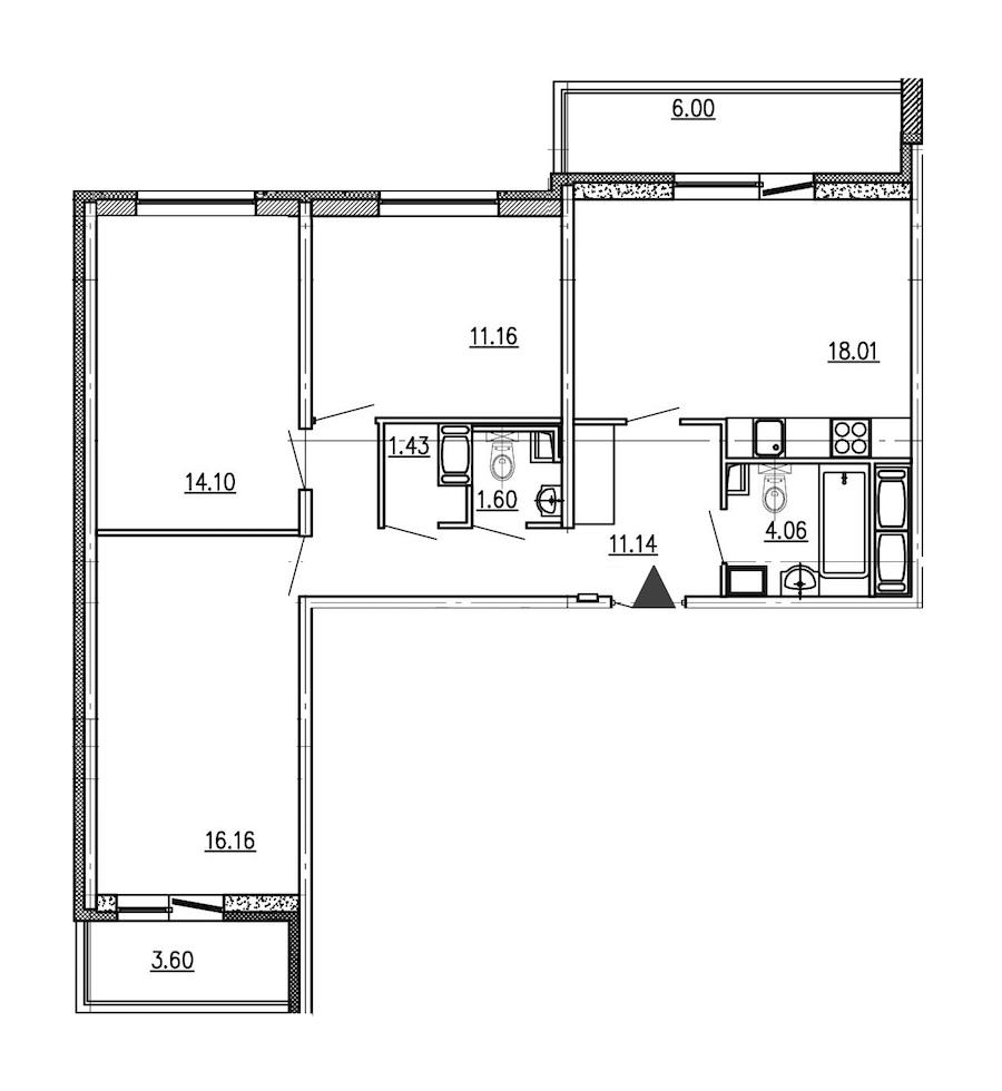 3-комнатная 77 м<sup>2</sup> на 8 этаже