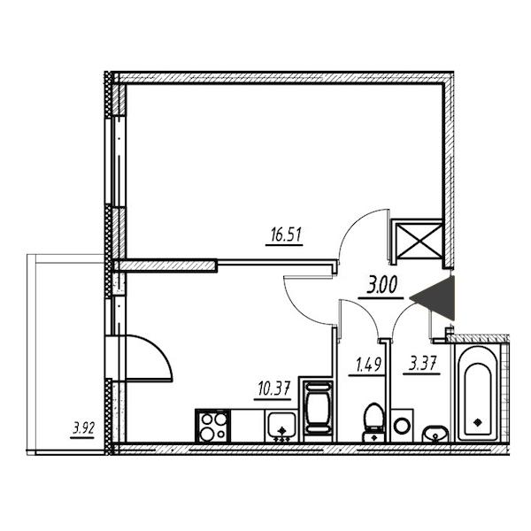1-комнатная 34 м<sup>2</sup> на 7 этаже