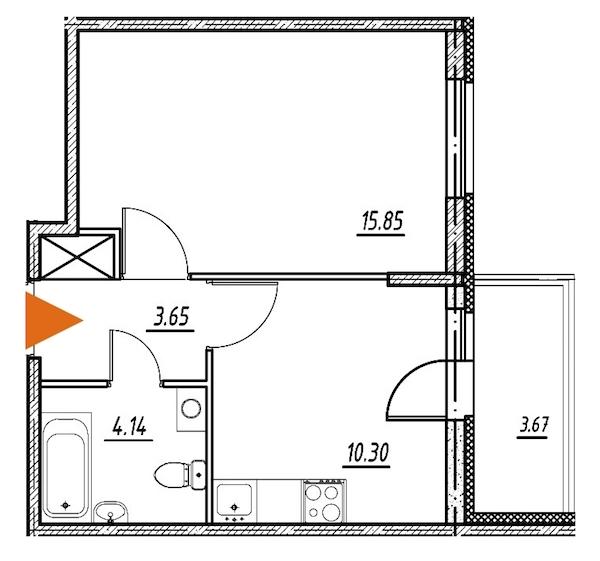1-комнатная 33 м<sup>2</sup> на 2 этаже