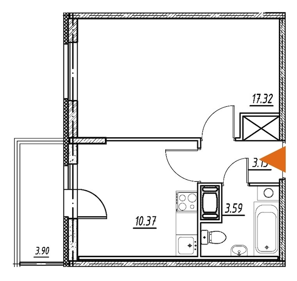 1-комнатная 34 м<sup>2</sup> на 12 этаже