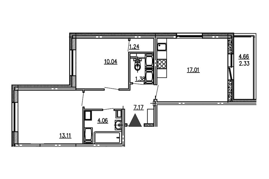 2-комнатная 54 м<sup>2</sup> на 14 этаже