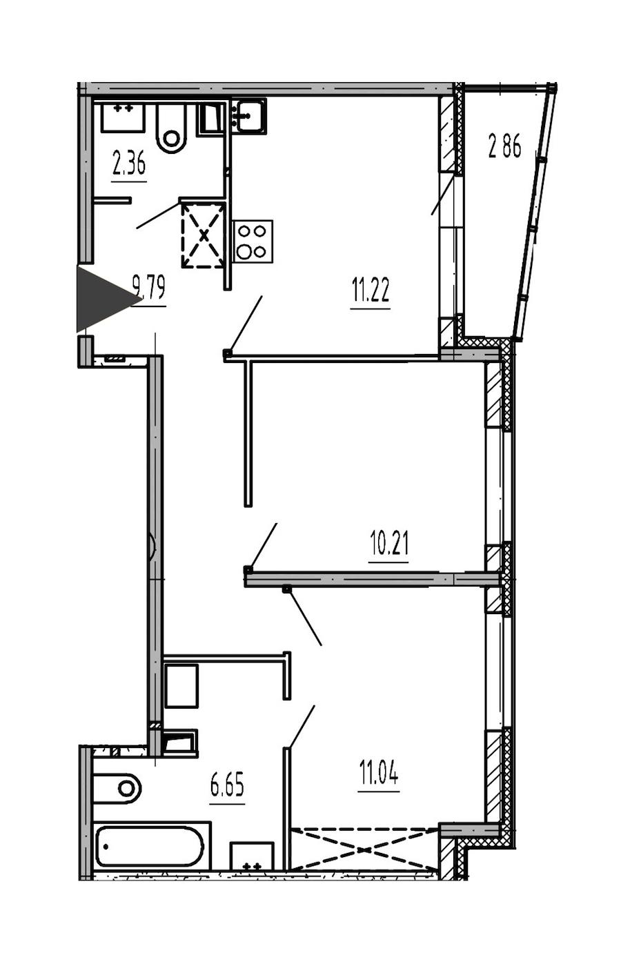 2-комнатная 51 м<sup>2</sup> на 1 этаже