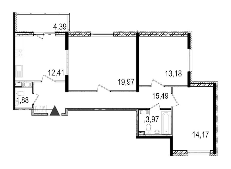 3-комнатная 81 м<sup>2</sup> на 10 этаже