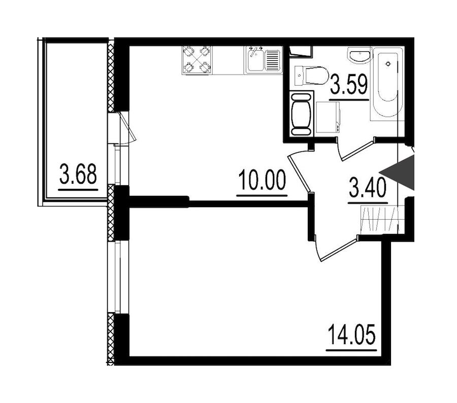 1-комнатная 31 м<sup>2</sup> на 8 этаже