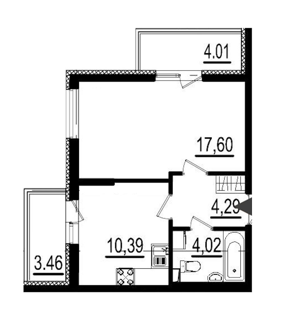 1-комнатная 36 м<sup>2</sup> на 1 этаже