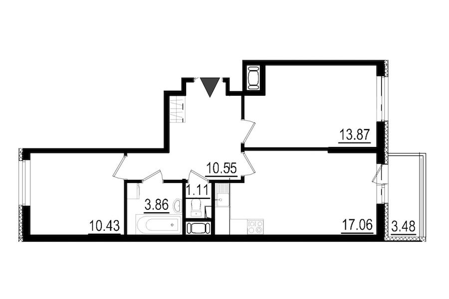 2-комнатная 56 м<sup>2</sup> на 8 этаже