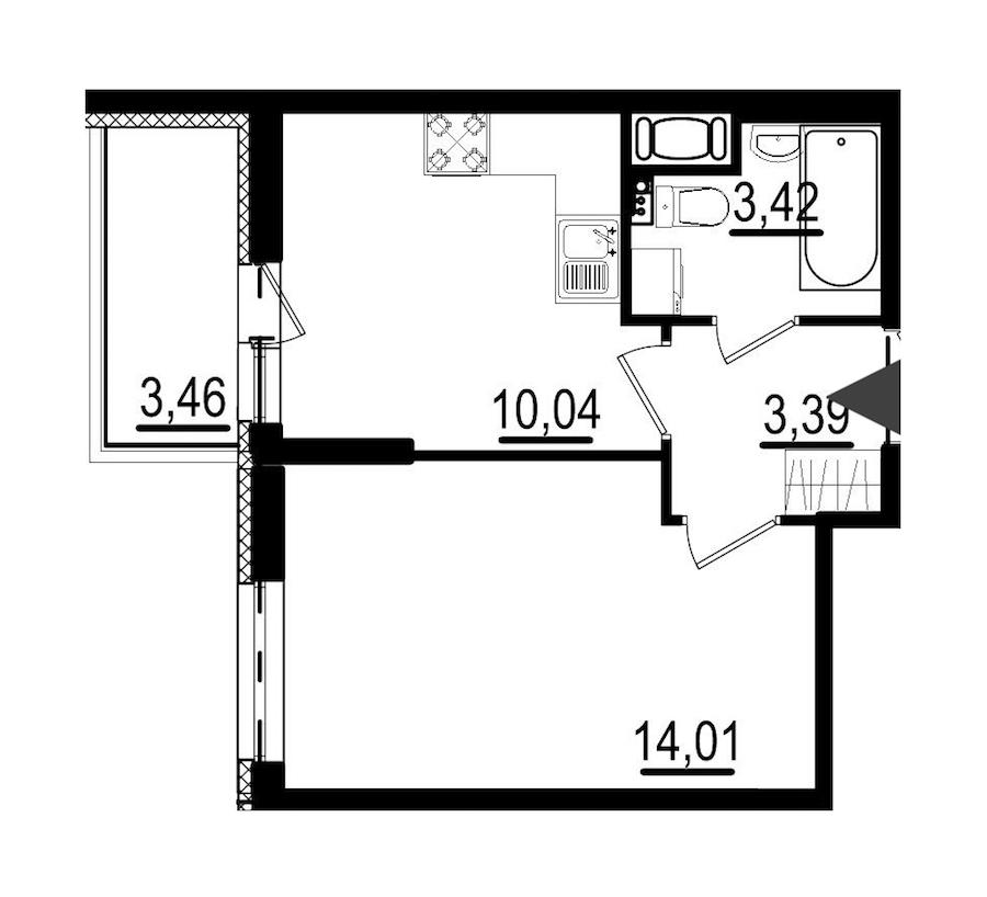 1-комнатная 30 м<sup>2</sup> на 3 этаже