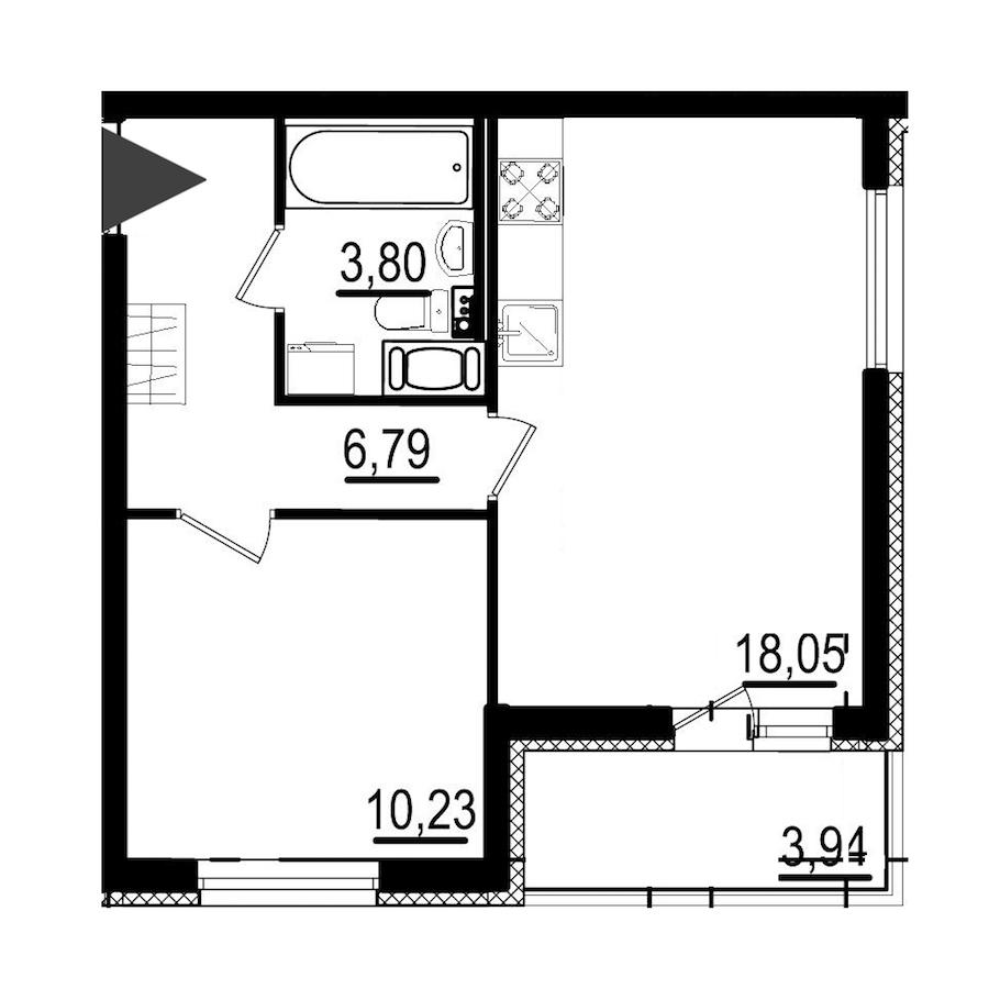 1-комнатная 38 м<sup>2</sup> на 7 этаже
