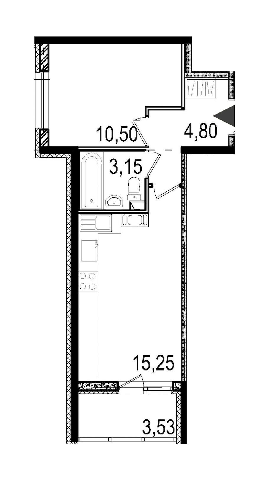 1-комнатная 33 м<sup>2</sup> на 4 этаже