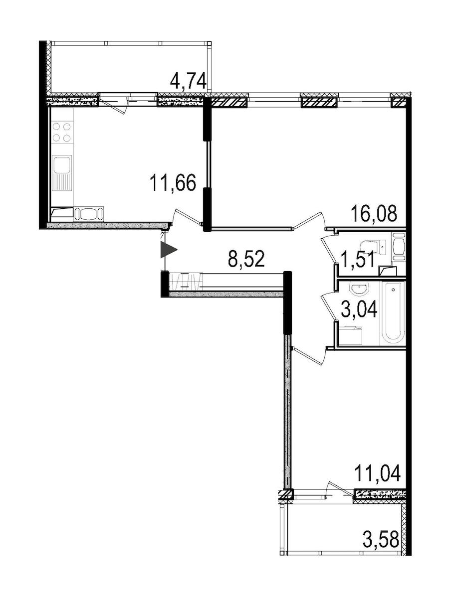 2-комнатная 51 м<sup>2</sup> на 12 этаже