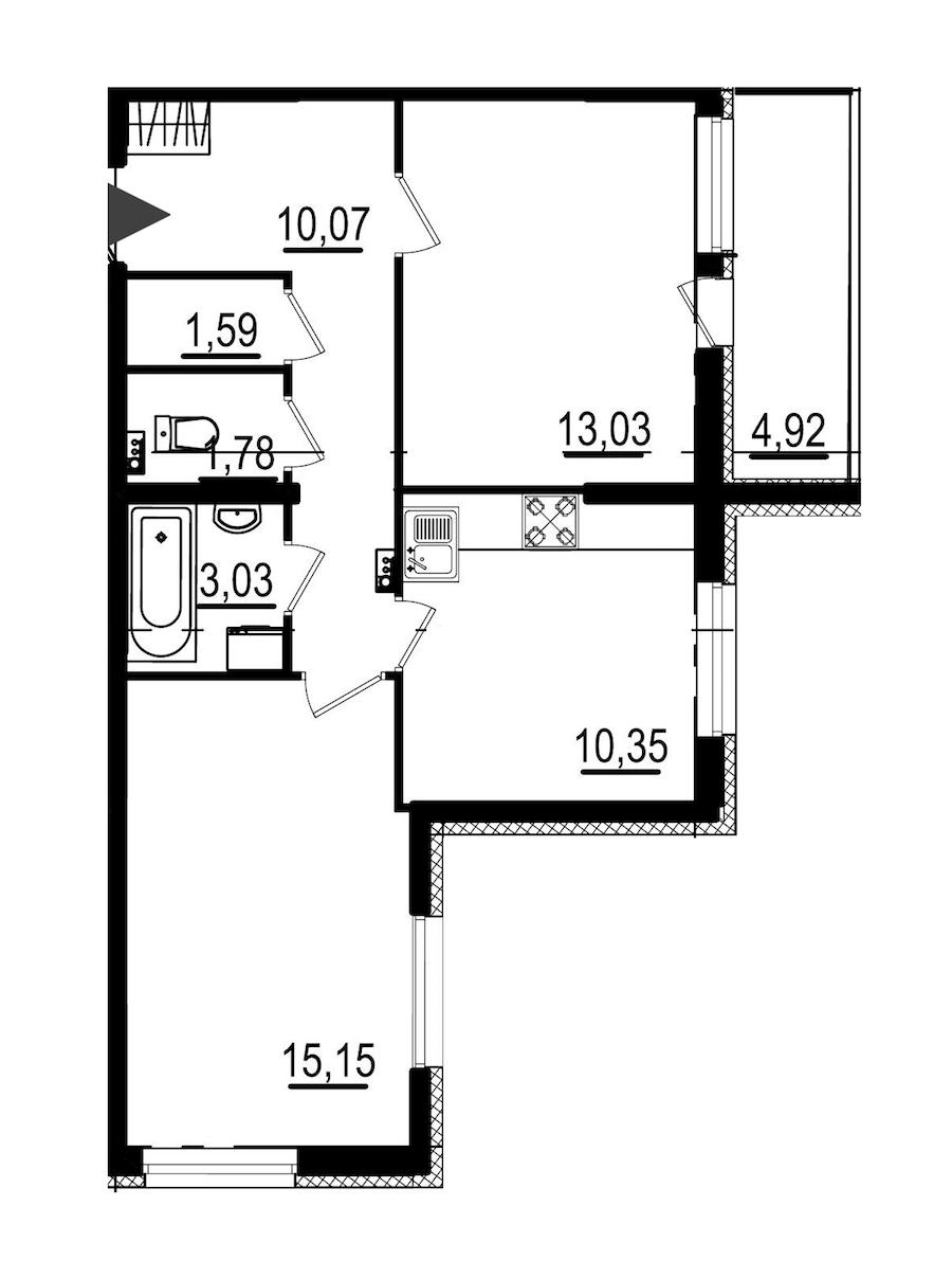 2-комнатная 55 м<sup>2</sup> на 1 этаже