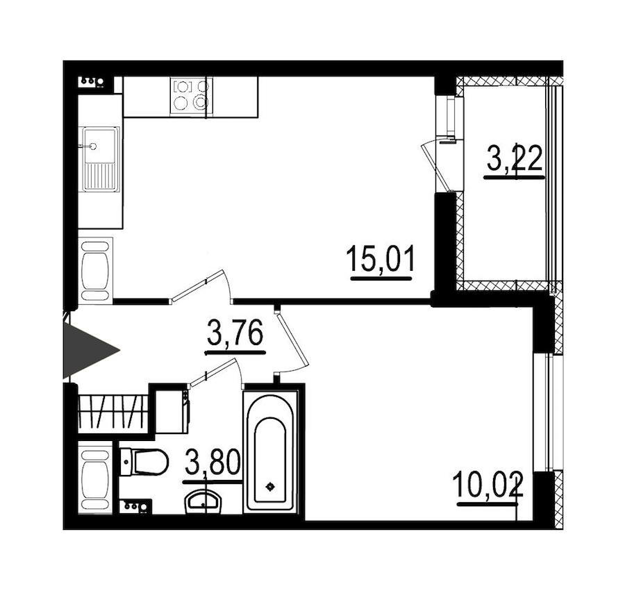1-комнатная 32 м<sup>2</sup> на 2 этаже