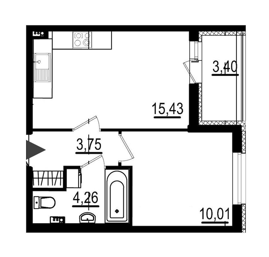 1-комнатная 33 м<sup>2</sup> на 1 этаже