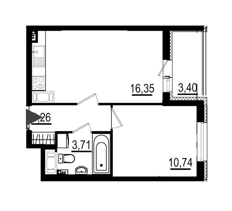 1-комнатная 35 м<sup>2</sup> на 8 этаже