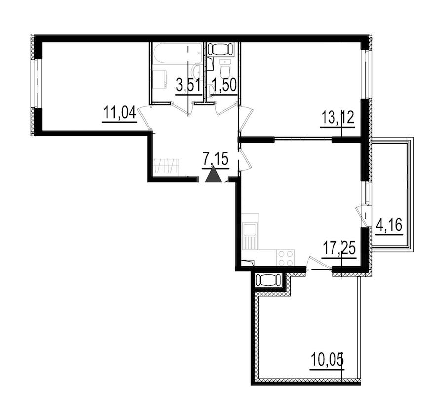 2-комнатная 52 м<sup>2</sup> на 8 этаже