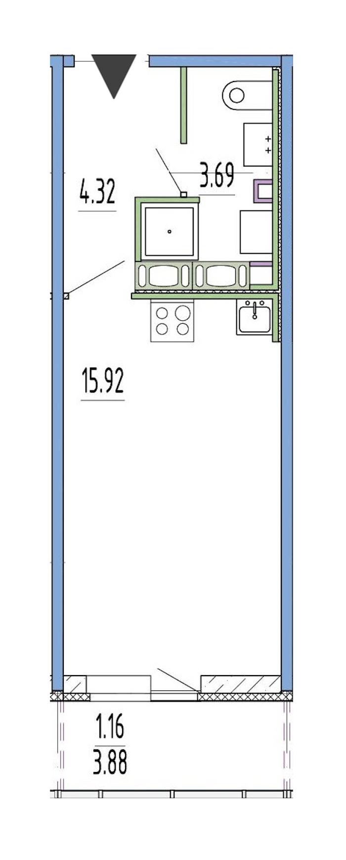 Студия 23 м<sup>2</sup> на 1 этаже