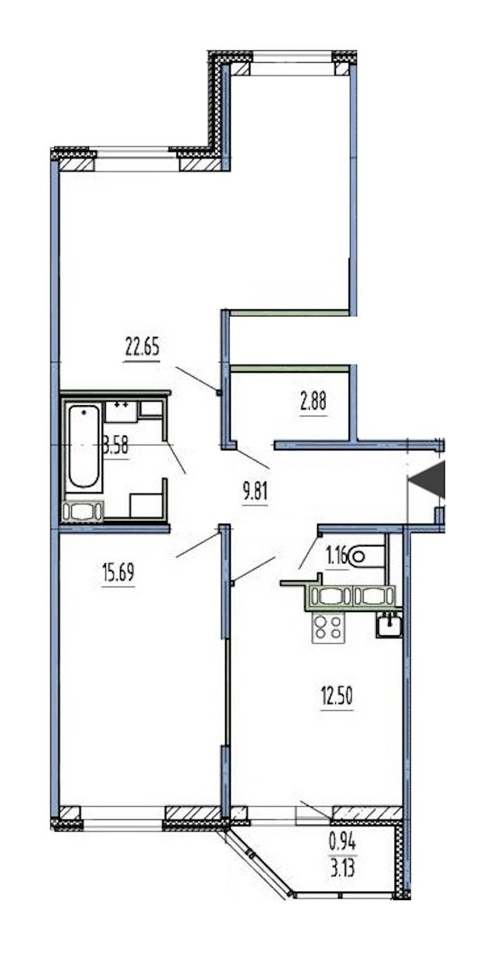 2-комнатная 67 м<sup>2</sup> на 1 этаже