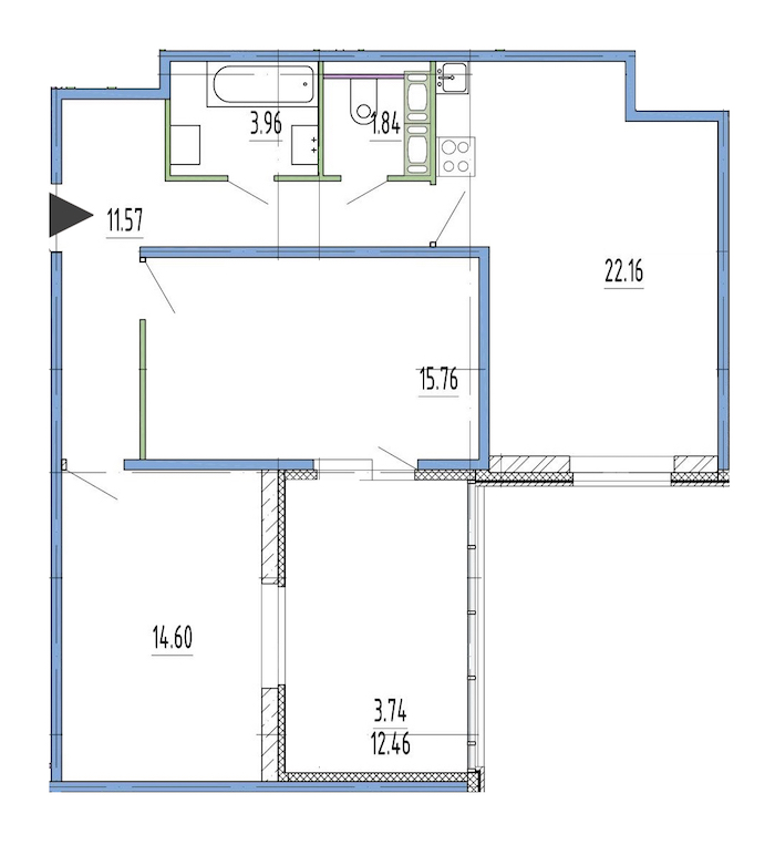 2-комнатная 68 м<sup>2</sup> на 1 этаже