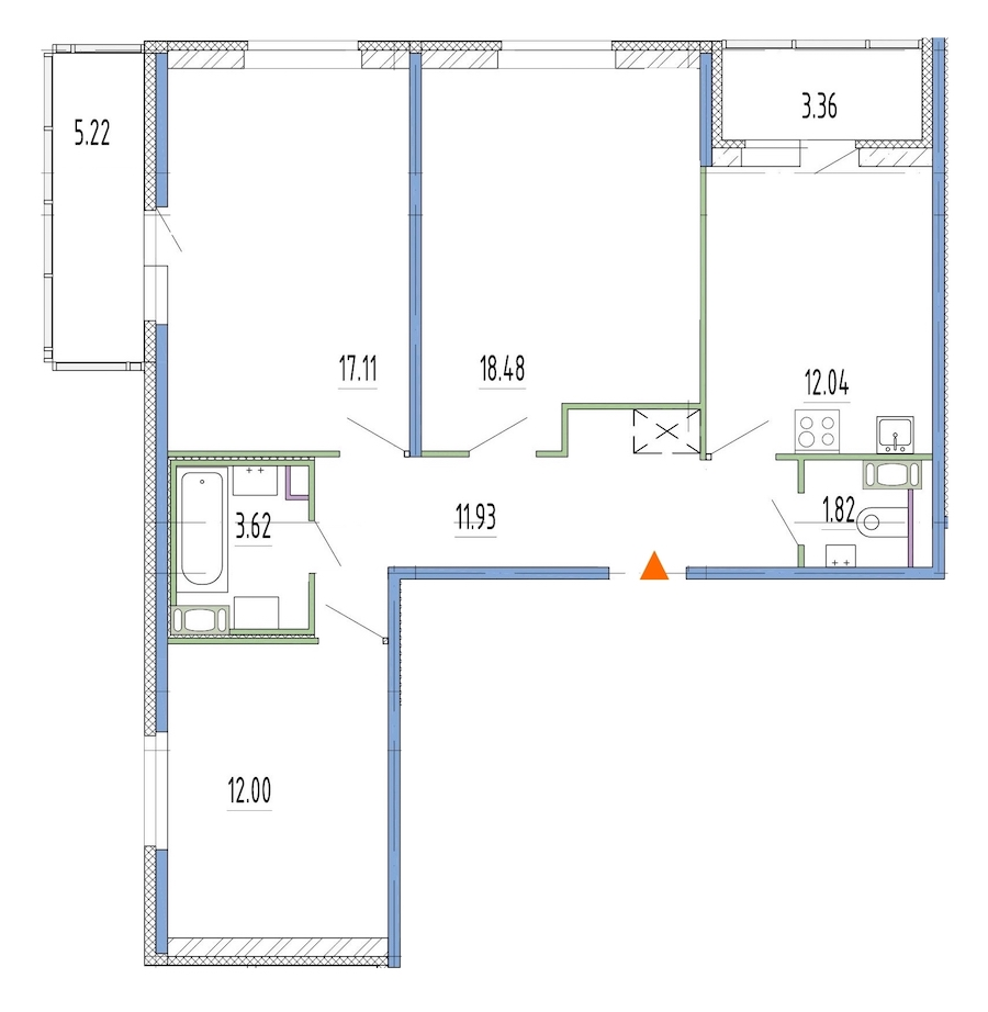 3-комнатная 76 м<sup>2</sup> на 4 этаже