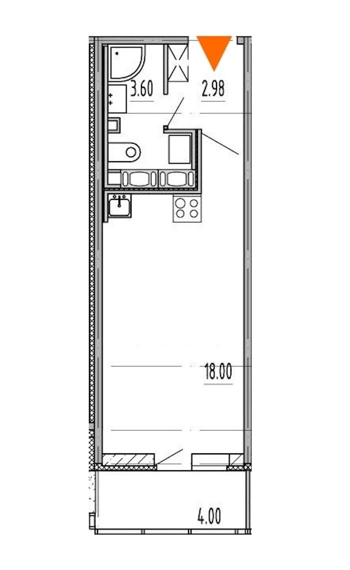 Студия 24 м<sup>2</sup> на 11 этаже
