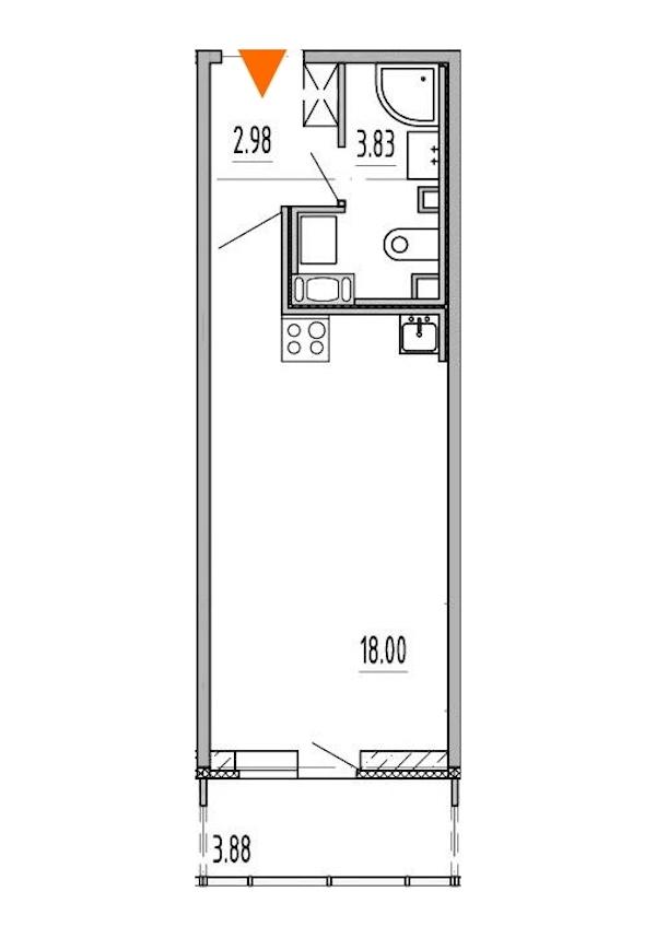 Студия 24 м<sup>2</sup> на 5 этаже