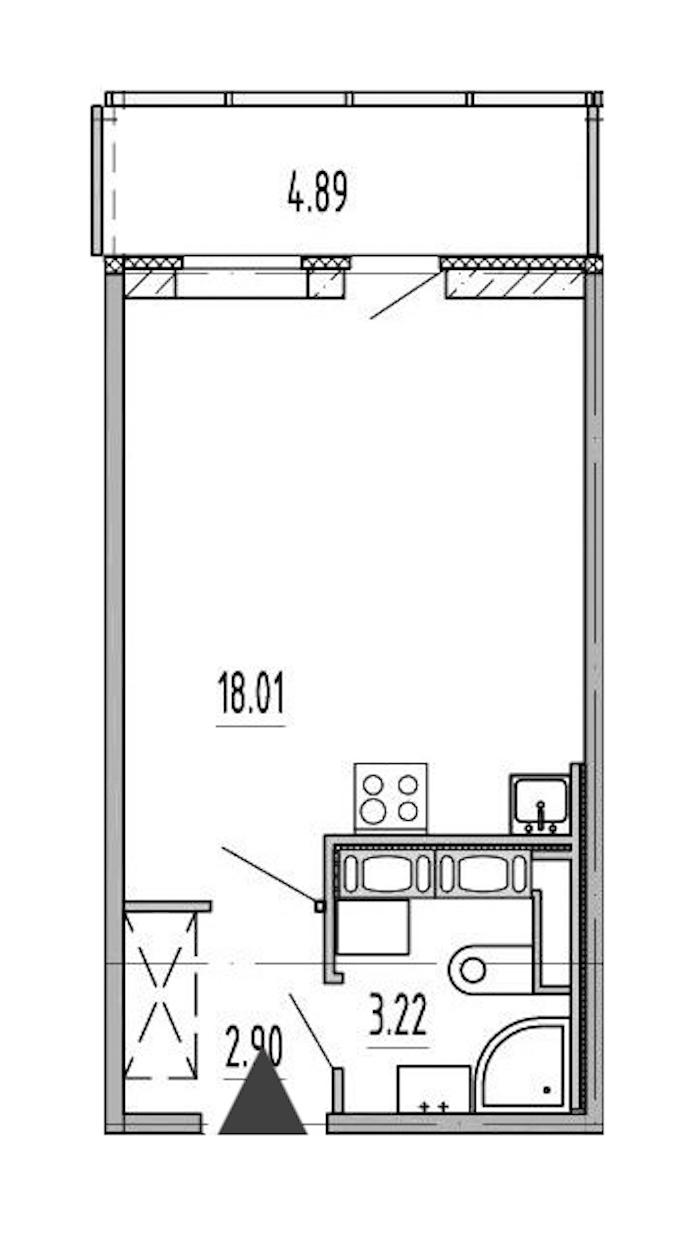 Студия 24 м<sup>2</sup> на 10 этаже